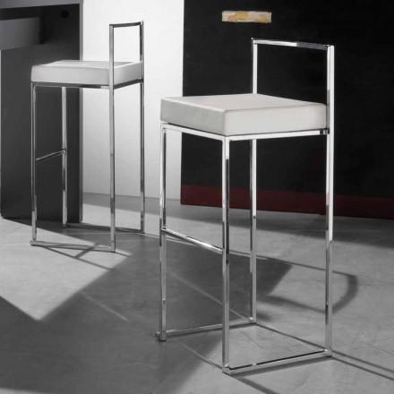 Moderner Hocker H 99 cm aus Kunstleder mit Fußstütze - Alina