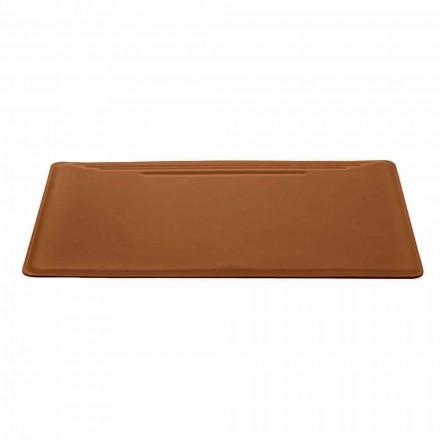 Made in Italy Schreibtischunterlage aus regeneriertem Leder mit Stiftanschlag - Ebe-Nähte