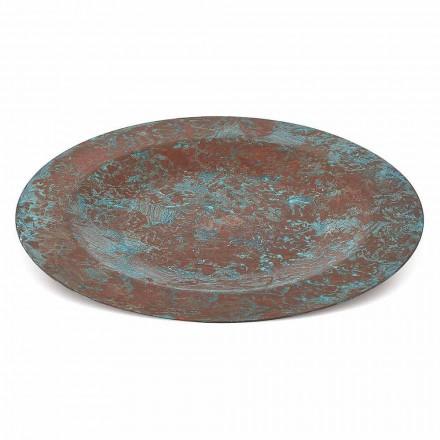 Handverzinntes Tischset aus grünem oder braunem Kupfer 6 Stück 28 cm - Rocho