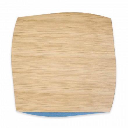 Modernes quadratisches Tischset aus Eichenholz Made in Italy, 4 Stück - Abraham