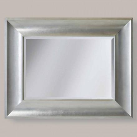 Gold / Silber Wandspiegel in Ayous Holz, hergestellt in Italien, Silvio