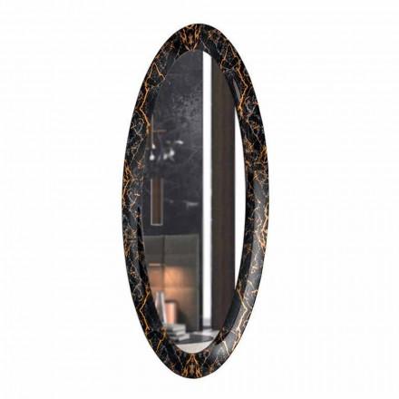 Langer ovaler Wandspiegel mit Marmoreffektrahmen Made in Italy - Denisse