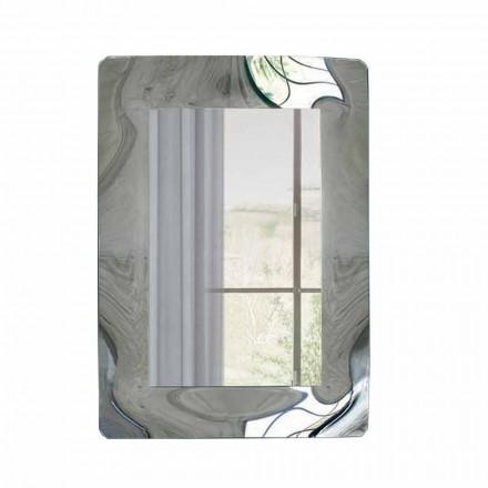 Rechteckiger Spiegel mit Wellglasrahmen Made in Italy - Vira