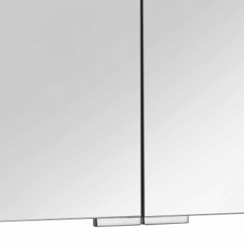 2-türiger Spiegel mit silbernem Aluminiumbehälter und Chromdetails - Maxi