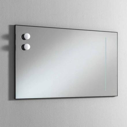 Wand Badezimmerspiegel mit 2 Glühbirnen und schwarzem Rahmen Made in Italy - Rahmen