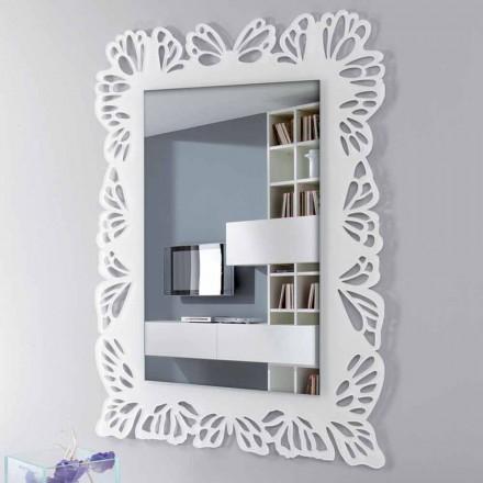Weißer Plexiglas-Wandspiegel mit verziertem rechteckigem Rahmen - Alidifarf