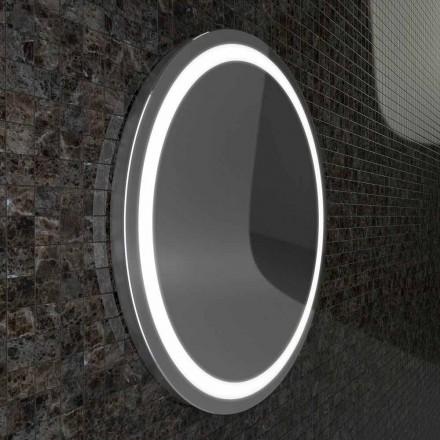 Spiegel mit Edelstahlkanten und Charly LED-Leuchten im modernen Design