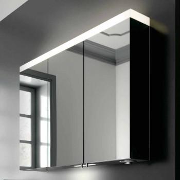3-türiger Wandspeicherspiegel aus silber lackiertem Aluminium - Alfio