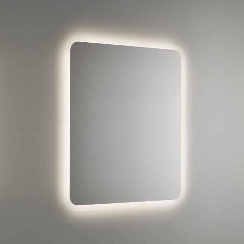 Abgerundeter Badezimmerspiegel mit LED-Hintergrundbeleuchtung Made in Italy - Pato