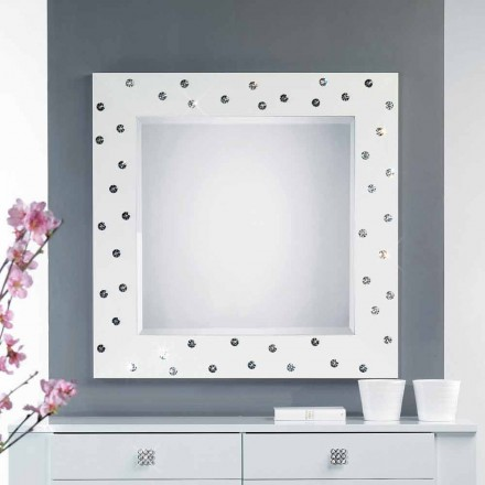 moderne Wandspiegel weiß mit Swarovskisteinen Tiffany