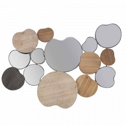 Modernes Design Wandspiegel aus Holz und Eisen - Ortensio