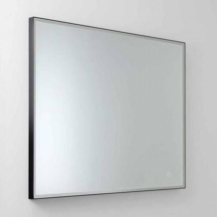 Quadratischer Wandspiegel mit LED aus Satinglas Made in Italy - Mirro