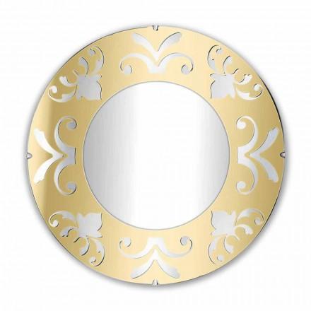 Runder Designspiegel aus Gold, Silber oder Bronze, Plexiglas mit Rahmen - Foscolo