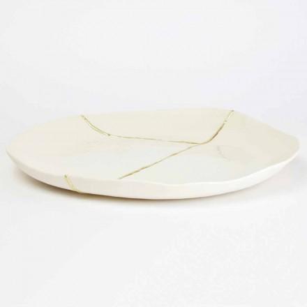 Rundes Valet-Tablett aus weißem Porzellan und Blattgold - Cicatroro