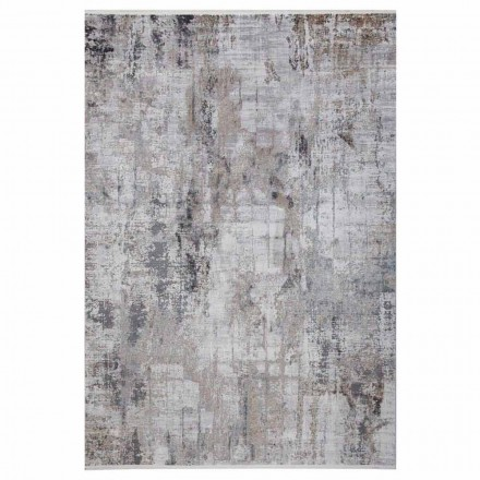 Rutschfester Teppich in Grau-Beige-Viskose und Acrilic mit Zeichnung - Präsident