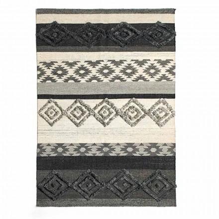 Rechteckiger Teppich aus Wolle, Baumwolle und Viskose für modernes Wohnzimmer - Zorro