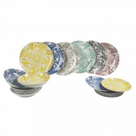 Porzellan farbig gedeckter Tischservice 18 Stück - Pizzotto