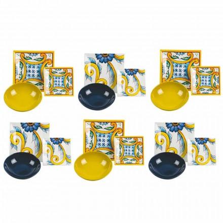 Eleganter farbiger gedeckter Tisch, Porzellan und Steinzeug 18 Stück - Fliesen