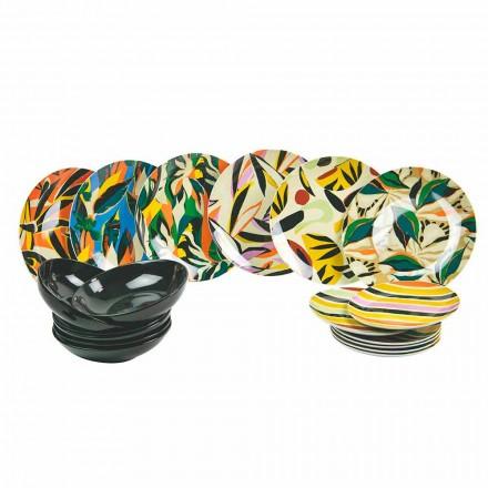 Gedeckter Tischservice aus Porzellan und farbigem Steinzeug 18 Stück - Tequila
