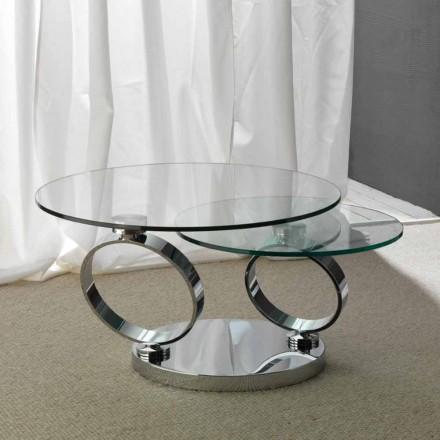Couchtisch mit zwei runden Tischplatten verstellbar aus Glas