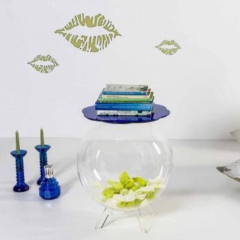 Blauer runder Tisch / Container Biffy, modernes Design made in Italy