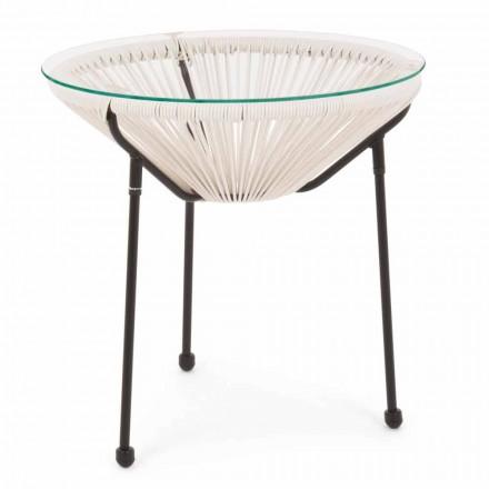 Outdoor Stahl Tisch mit Design Glasplatte - Spumolizia