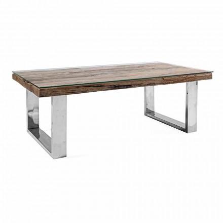 Design Couchtisch aus Holz, Glas und Stahl Homemotion - Frederic