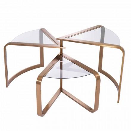 Design Couchtisch aus Glas mit kupferfarbenen Details - Carpi