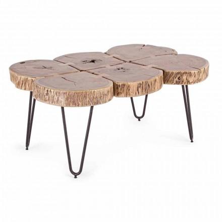 Couchtisch aus Akazienholz und Homemotion lackiertem Stahl - Havanna