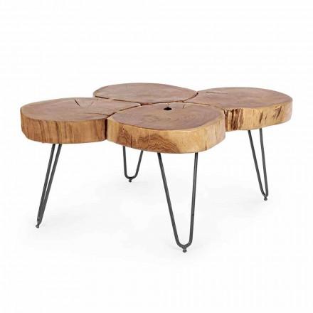 Homemotion Moderner Couchtisch aus Holz und lackiertem Stahl - Severo