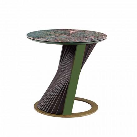 Runder Luxus-Couchtisch aus Gres und Esche Made in Italy - Bering
