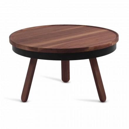 Runder Design-Couchtisch aus Massivholz und Metall - Salerno