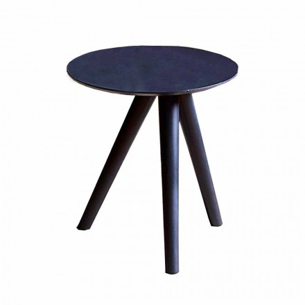 Runder Couchtisch aus schwarz grau lackiertem Holz Made in Italy - Stuttgart