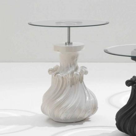 Tischchen aus Massivholz und weißem Kristall, Durchmesser 60cm, Margo