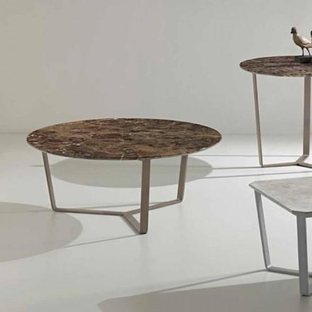 Tischchen aus Emperador Marmor mit bronzefarbener Basis Adone