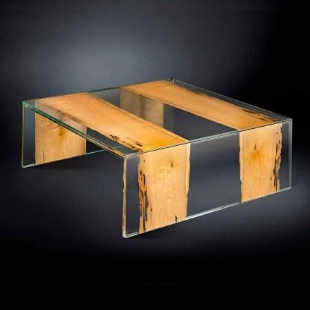 Beistelltisch aus Glas und Holz viereckig Venezia