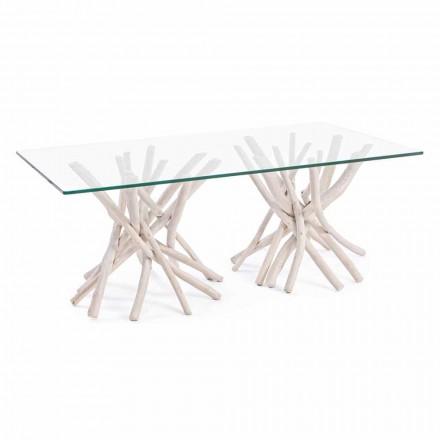 Couchtisch mit gehärteter Glasplatte und Homemotion Teak Base - Teak