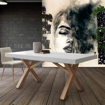 Weiß ausziehbarer Tisch mit natürlicher fester Struktur Rico