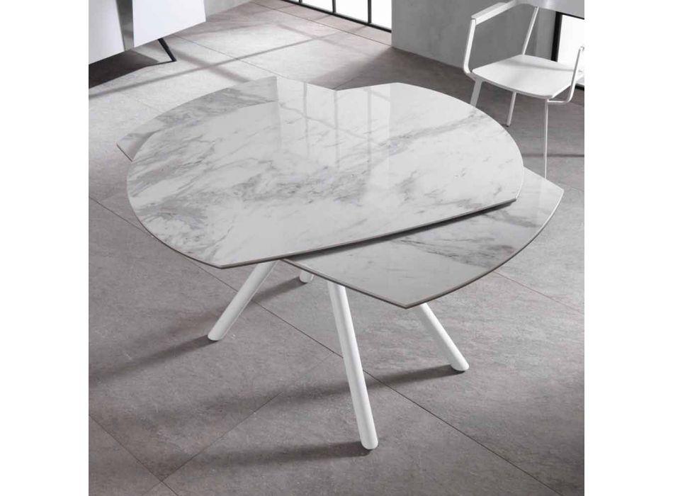 Ausziehbarer Tisch mit Keramikplatte und Metallbeinen, Lozzolo