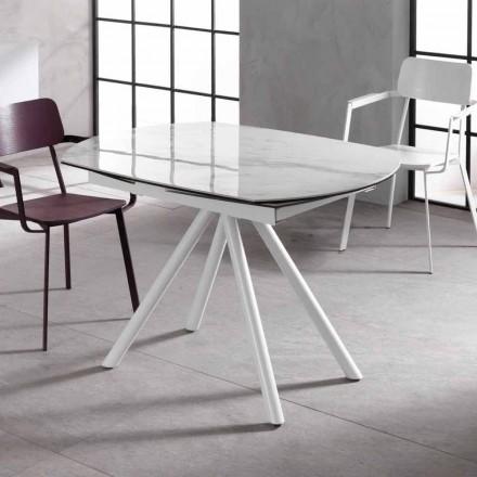 Ausziehbarer Tisch mit Keramikplan und Metallbeinen Lozzolo