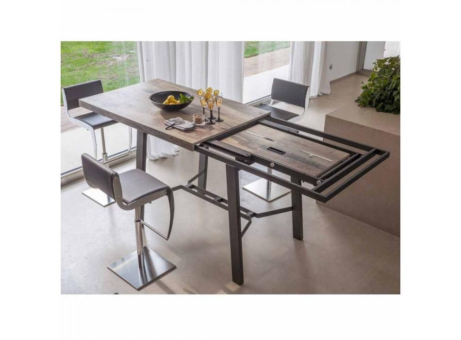 Ausziehbarer Esstisch aus Holz und Metall bis zu 280 cm - Gallotto