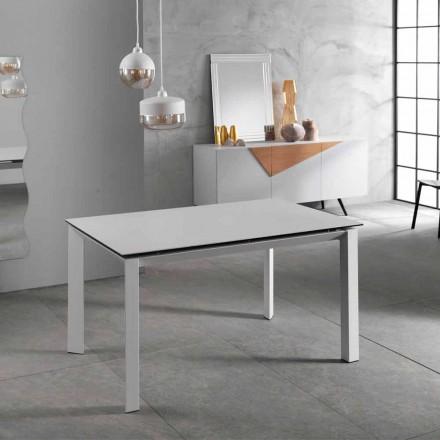 Moderner ausziehbarer Tisch bis 220 cm aus weißer Keramik Plan Nosate