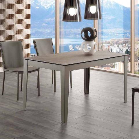 Ausziehbarer Cagliari-Tisch aus Glaskeramik und Metall bis 380 cm