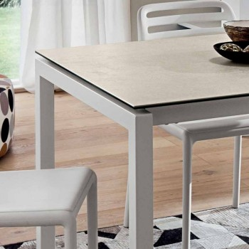 Ausziehbarer Tisch Bis zu 238 cm aus Laminam und Metall Made in Italy - Remigio