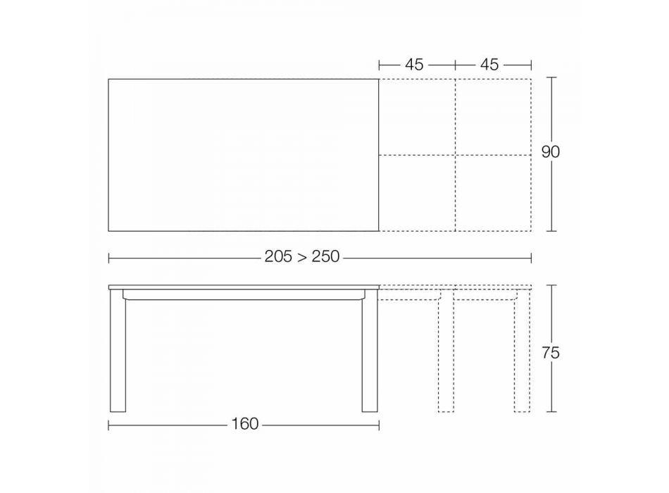 Ausziehbarer Tisch Bis zu 250 cm mit Glasplatte Made in Italy - Pitagora
