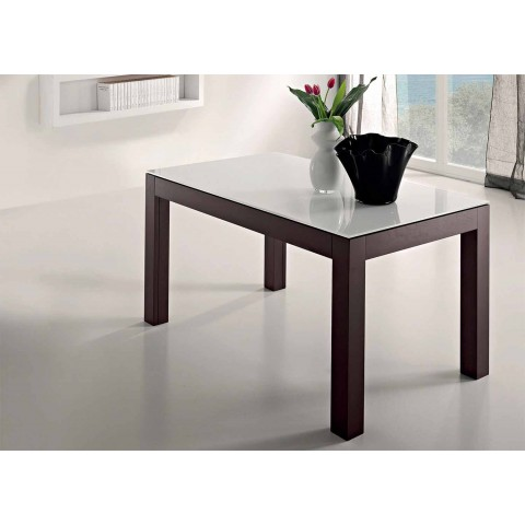 Ausziehbarer Tisch bis zu 270 cm aus Glas und Eschenholz Made in Italy - Homer