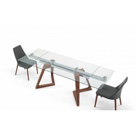 Esstisch ausziehbar bis 280 cm aus Glas und Furnierholz - Eugrafo