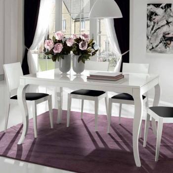 Ausziehbarer Tisch bis 350 cm in glänzend weißer Tanganika-Walnuss, Leomas