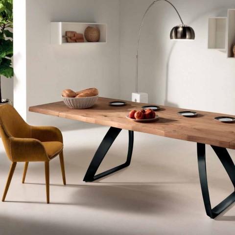 Verlängerbarer Tisch furniert Eiche und Metall Travis