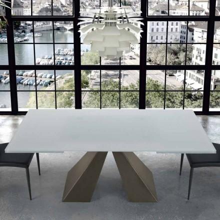 Moderner Esstisch aus Glas und Stahl 14 Sitzplätze – Dalmata